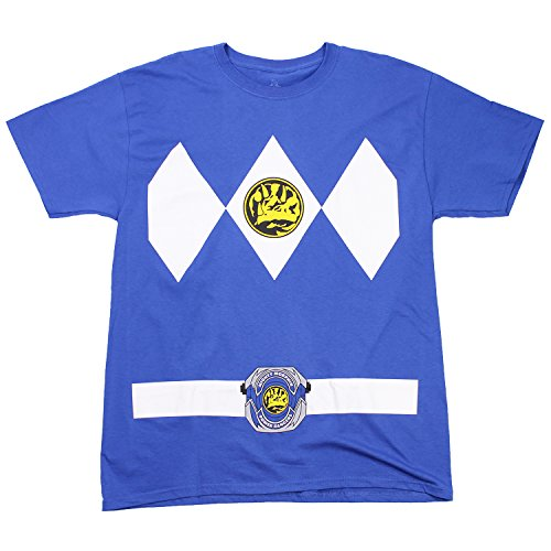 The Power Rangers Blue Rangers Costume Adult T-shirt Tee -