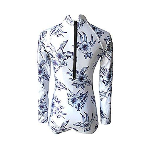 Allouli 2017 Europa Traje de baño de impresión de la mujer traje de baño de traje de baño del traje de baño del bikiní de la playa que se baña para el verano White