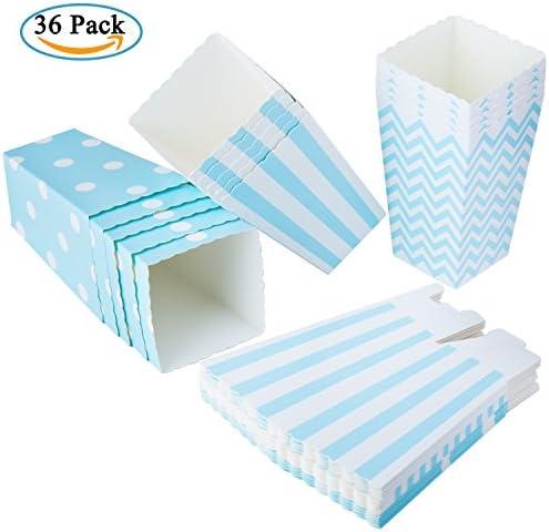 Diealles Popcorn Boxes, 36 Stück Popcorn Tüte Popcorn Candy Boxen Behälter für Party Snacks, Süßigkeiten, Popcorn und Geschenke - Blau
