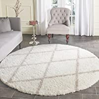 Safavieh Montreal Shag Collection SGM831F Ivory and Beige Round Area Rug (67 Diameter)
