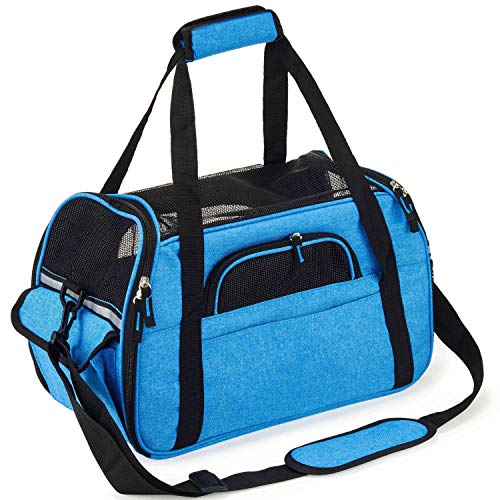 Pettom Soft-Sided Pet Carrier for Dogs Cats Travel Bag Tote Airline Approved Under Seat -L Royal Blue