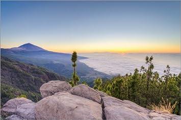 Posterlounge Cuadro sobre Lienzo 30 x 20 cm: Tenerife Teide Sunset de Michael Valjak -