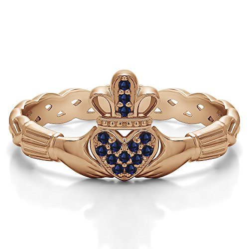 (Rose Plated Silver Sapphire .07 CT Sapphire Celtic Claddagh Wedding Ring with Pave Heart (Sizes 3 To 15))