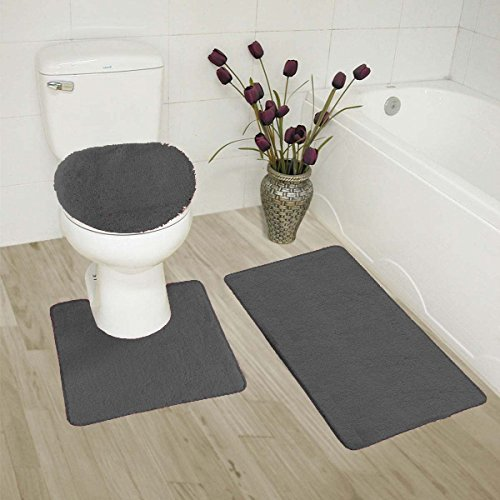 MK Home Collection 3 Piece Bathroom Rug Set Bath Rug, Contour Mat & Lid Cover Non-Slip with Rubber Backing Solid Charcoal/Dark Grey New