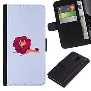 iBinBang / Flip Funda de Cuero Case Cover - Lion Big Wild Cartoon Drawing Red Safari Art - Samsung Galaxy Note 4 SM-N910