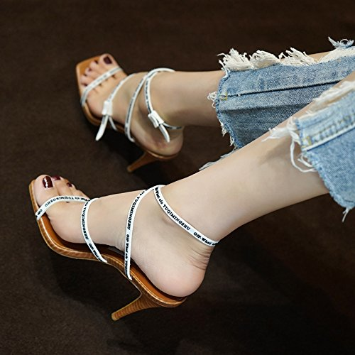 High 6cm And Heels White Red ZHANGYUSEN Heels Letters Fine Sandals 2018 Heels Summer Toes High HBqAP