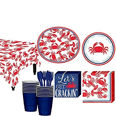 Party City Seafood and Summer Tableware Kit for 16 Guests, Party Supplies, Tables, Napkins, Cups, Table Cover, Cutlery: Kitchen & Dining