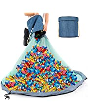 Large Play Mat for Lego City Storage and Organizers Bag Outdoor Toy Quick Storage Container Collapsible Canvas Basket Slideaway Toy Bin for Kids Room, Prize Box Toys for Classroom Storage (Blue)
