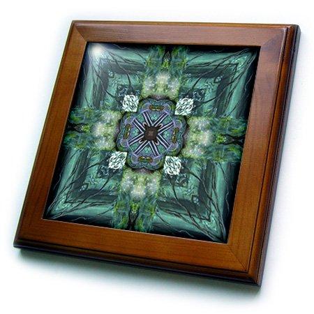 3dRose ft_6726_1 Irish Earth Cross Framed Tile, 8 x 8