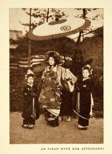 1925 Print Oiran Courtesan Costume Fashion Japanese Geisha Tayu Traditional Girl - Original Halftone (Courtesan Costumes)