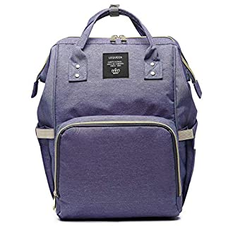 LEQUEEN Diaper Bag Multi-function Baby Diaper Backpack Nappy Bags, Mom Dad Travel Backpack Large Capacity Baby bags (Solid Color - Purple)
