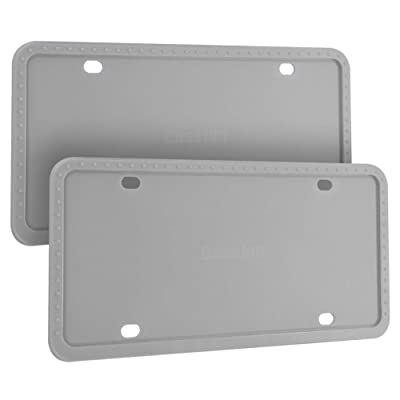 Deselen Silicone License Plate Frame, Minimalist and Stylish, 2 Pack, Gray: Automotive