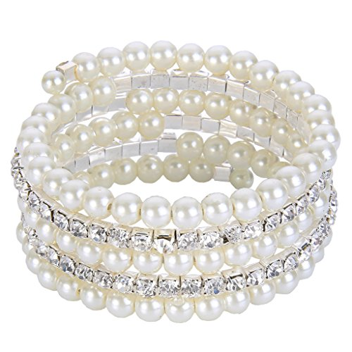 EVER FAITH Wedding Layers Cream Ivory Color Simulated Pearl Strand Bracelet Clear Austrian Crystal