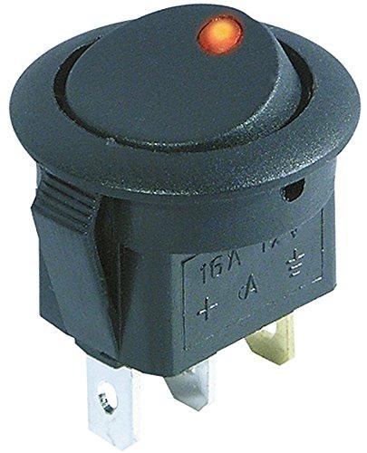 rote LED 12V//16A Kfz-Schalter 2 Stellungen: EIN // AUS 3-polig