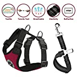 Nasus Dog Car Harness Seat Belt Vest Harness, Multifunction Adjustable Double Breathable Mesh Fabric with Car Vehicle Connector Belt for Dogs Travel Walking Trip (Small, Canvas - Wine Red)