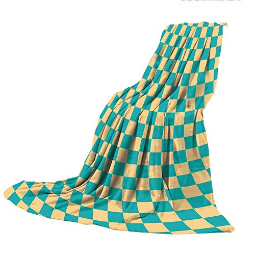 Packers Bay Dart Green (SCOCICI Comfortable Printing Blanket and Washing Machine Washable,Geometric,Art Deco Style Chess Table Dart Like Horizontal Vintage Image,Turquoise and Light Yellow,59.06