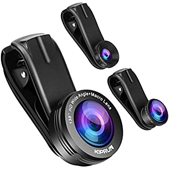 KIPRUN Phone Camera Lens, 0.4 X 138° HD Super Wide Angle Lens + 195° Fisheye Lens + 15X Macro Lens,Clip-On 3 in 1 Professional HD Cell Phone Lens for iPhone X/8/7/6/6s Plus SE Samsung & HTC