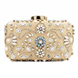 Velvet Women Evening Vintage Clutch Purse Pearls Beaded Crystals Rinestones Elegant Flower Evening Handbag With Detachable Chain Beige