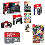 Nintendo Switch 9 Items Bundle: 32GB Console Gray Joy-con, Pro Controller, Nintendo Joy-Con (L/R)-Gray, 64GB Sd Card, Game Disc1-2-Switch The Legend Of Zelda Super Bomberman R
