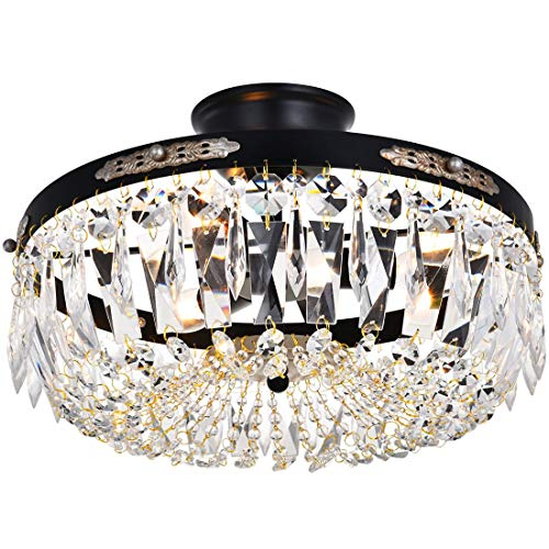 Modern French Empire Black Finish Crystal Flushmount Chandelier Lighting LED Ceiling Light Fixture Lamp for Dining Room Bathroom Bedroom Livingroom 3 E12 Bulbs Required D14 in X H9 in