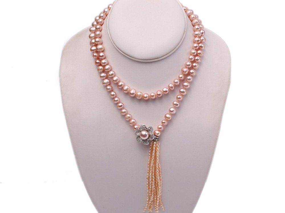 JYX 9-10mm Natural Pink Round Freshwater Pearl Necklace