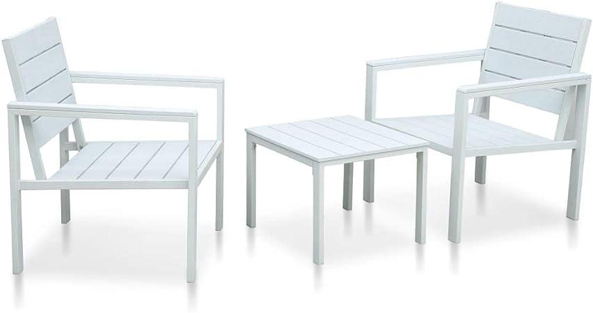 vidaXL Mesa y Sillas de Jardín Conjunto de Muebles de Patio Juego de Terraza Porche Exterior 3 Piezas HDPE Blanco Aspecto Madera: Amazon.es: Hogar