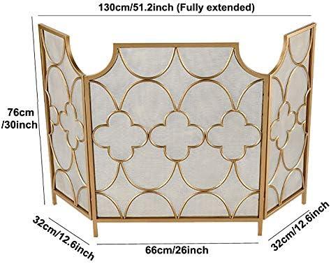 暖炉スクリーン MYL 折りたたみゴールド暖炉スクリーン - オープン火災/ガス火災のための3パネル錬鉄火スクリーンメタルメッシュスパークガード/ログウッドバーナー、背の高い76センチメートル (Color : Gold)
