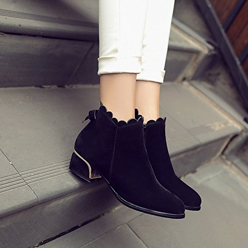 Mee Shoes Women's Fashion Bow Block Mid Heel Zip Ankle Boots Black c0K4p