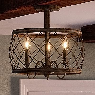 "Luxury French Country Semi-Flush Ceiling Light, Medium Size: 14.5""H x 15""W, with Shabby Chic Style Elements, Gold Accented Silver Leaf Finish and Open Metal Lattice Shade, UQL2265 by Urban Ambiance"