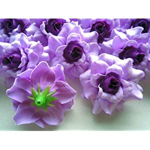 """(100) Silk Purple Roses Flower Head - 1.75"""" - Artificial Flowers Heads Fabric Floral Supplies Wholesale Lot for Wedding Flowers Accessories Make Bridal Hair Clips Headbands Dress 8"""