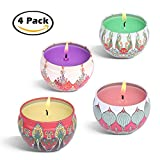 #9: Laluztop Scented Candles Gift Set(Jasmine, Grapefruit,Peach & Lotus) 100% Soy Candles Scented and Organic Candles, Pretty Small Mini Massage Relaxing Travel Tin Aromatherapy Candles on Sale - 4 Pack