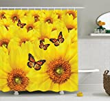 Ambesonne Sunflower Decor Collection, Sunflower Flowers Atop One Another Butterfly Warm Colors Round Close Up Details Fun Design, Polyester Fabric Bathroom Shower Curtain Set with Hooks, Yellow Orange