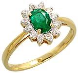 "14k Gold Stone Cluster Ring, w/ 0.25 Carat Brilliant Cut Diamonds & 0.46 Carat Oval Cut Emerald Stone, 7/16"" (11mm) wide, size 6"