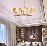 Chandelier,Luxury Round Clearing Crystal Droplets Flush Mount LED Chandelier Ceiling Light Fixture Pendant Lamp for Dining Room Hall Lampshade