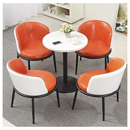 Round Cafe Table and Chair Combination Set, Kitchen Living Room Home Bakery Dessert Shop Beverage Shop Fast Food Restaurant Cinema Library Hotel Office Reception Room Soft Furniture 5-Piece from Style-Table and chair set