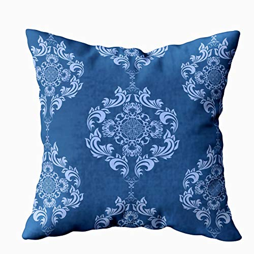 Musesh Blue Pillow Covers, Blue Floral Pattern Floral Ornament Background Contemporary Wallpaper for Sofa Home Decorative Pillowcase 20X20Inch Pillow Covers