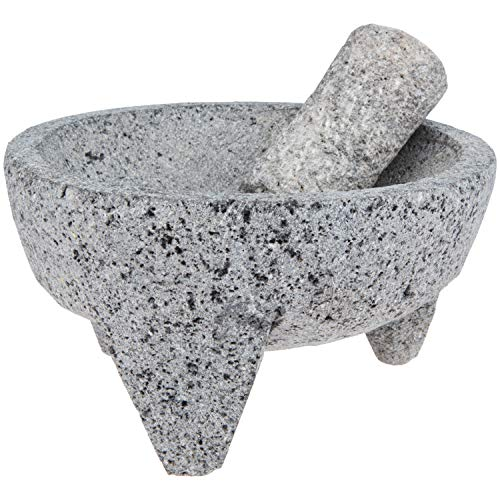 Mexican Molcajete - 8 inch 4 cups Large Handmade Volcanic Lava Stone Mortar and Pestle