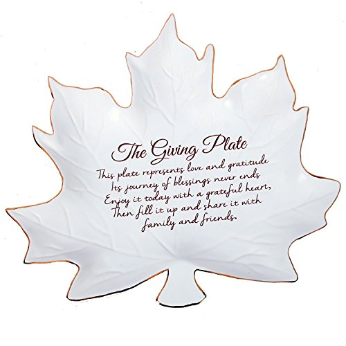 Fall Leaf Shaped Giving Plate 9 Inch Gold Trimmed Ceramic Serving (Shaped Serving Platter)