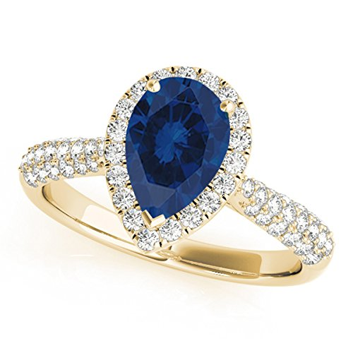 1 Ct. Ttw Diamond And Pear Shaped Sapphire Ring In 10K Yellow Gold