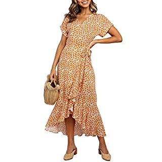 ZESICA Women's Summer Bohemian Floral Printed Wrap V Neck Beach Party Flowy Ruffle Midi Dress Orange