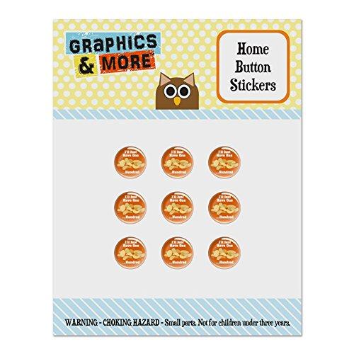 Potato Chips I'll Just Have One Hundred Funny Set of 9 Puffy Bubble Home Button Stickers Fit Apple iPod Touch, iPad Air Mini, iPhone 5/5c/5s 6/6s 7/7s Plus - Potato Chip Buttons