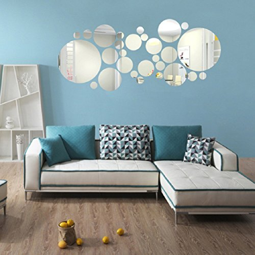 Ikevan 1 Set 27 Pcs Acrylic Art Modern 3D Mirror Round Wall Stickers DIY  Home Wall Room Decals Decor Sofa TV Setting Wall Removable Wall Stickers