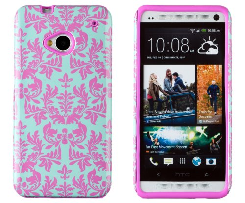 DandyCase 2in1 Hybrid High Impact Hard Sea Green Flower Pattern + Pink Silicone Case Cover For HTC One M7 4G LTE + DandyCase Screen Cleaner