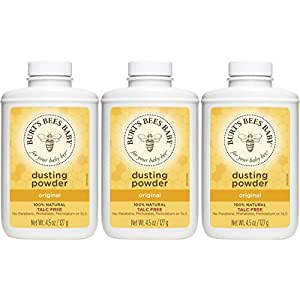 Burt's Bees Baby 100% Natural Dusting Powder, Talc-Free Baby Powder - 4.5 Ounce Bottle (Pack of 3)