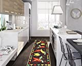 Ottomanson Siesta Collection Kitchen Hot Peppers Design (Non-Slip) Runner Rug, 20'' x 59'', Black