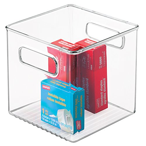 mDesign Office Supplies Desk Organizer Bin for Pens, Pencils, Markers, Highlighters, Tape - Cube, Clear