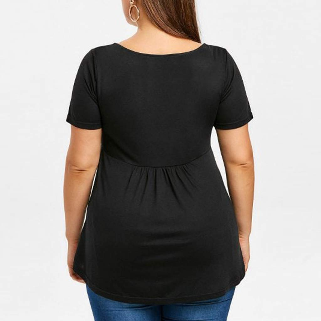 general3 Women Plus Size Tops Fashion Short Sleeve V-Neck Ruched Flounce T-Shirt Loose Blouse