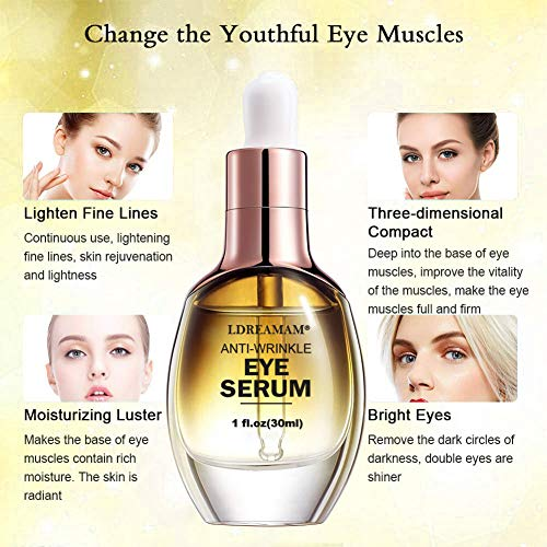 51cgcB9MJoL - Eye Serum,Under Eye Cream,Anti Wrinkle Eye Serum,Anti Ageing Eye Serum,Hydrating Eye Serum,For Dark Circles, Puffiness - Reduces Wrinkles, Bags, Saggy Skin & Puffy Eyes Great Eye Treatment