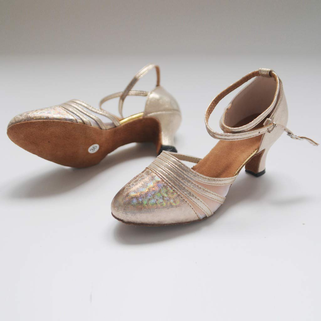 One promise Women High Heels Ballroom Tango Latin Salsa Sequins Social Soft Dancing Shoes