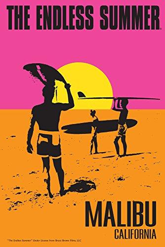 Endless Tin Summer - Malibu, California - The Endless Summer - Original Movie Poster (16x24 Giclee Gallery Print, Wall Decor Travel Poster)